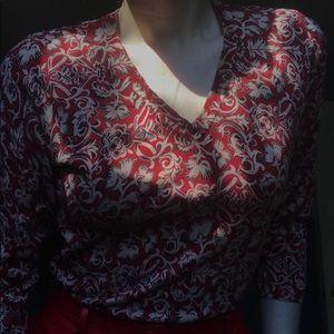 VTG Harold's Red Floral Quarter Sleeve Shirt